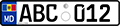 MD license plate ABC012 2015